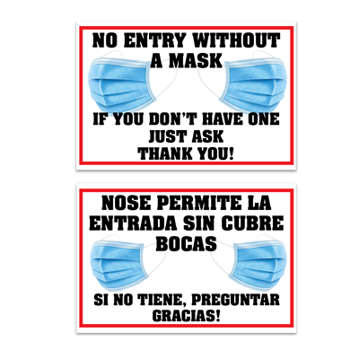 No Entry Without a Mask - Bilingual